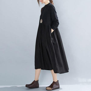 omychic plus size black cotton vintage for women casual loose autumn winter dress
