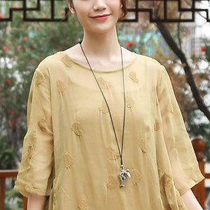 Embroidery Round Neck Half Sleeve Casual Yellow Dress