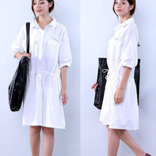Load image into Gallery viewer, Cotton Loose Pocket Women Lacing White Dress