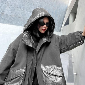 Winter New Fashion Women Big Pockets Contrast Color Hooded Collar Street Trendy