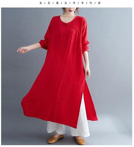 omychic plus size cotton linen vintage for women casual Split loose spring autumn dress