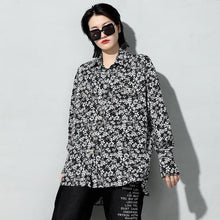 Load image into Gallery viewer, Print Casual Side Split Blouse Women Tide Fashion  Long Sleeve Elegant Personality Top