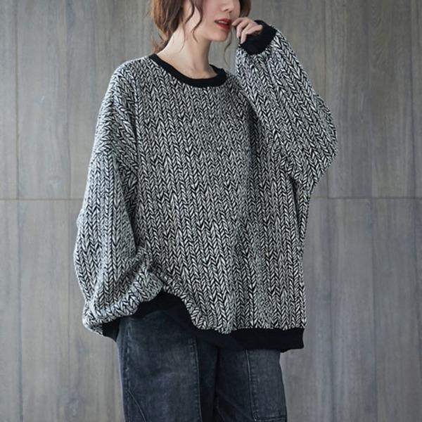 2020 Autumn Winter Korean Simple Style O-neck Loose Comfortabel Female Cotton Tops