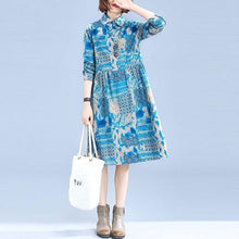 Load image into Gallery viewer, New 2020 Autumn Vintage Print Peter Pan Collar Knee-length Ladies Elegant A-line Dresses