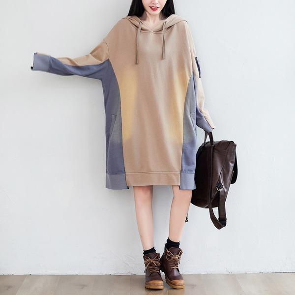 Patchwork Hooded Dress Ladies Plus Size Irregular Length Hooded Dresses