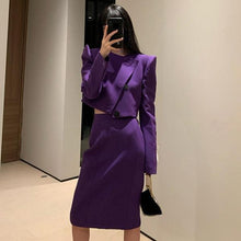 Load image into Gallery viewer, Tassel Patchwork Women's Sets Purple Trendy Fashion  Korean Elegant O Neck Collar Long Sleeve Single Breasted
