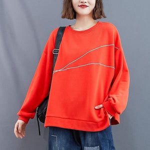 Winter Simple Style O-neck Solid Color Loose Female Pullovers Hoodies