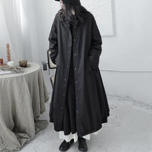 Load image into Gallery viewer, XITAO Casual Trench  Style Mandarin Collar Long Sleeve Single Breasted Pocket Black Personality Coat