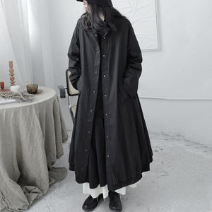 XITAO Casual Trench  Style Mandarin Collar Long Sleeve Single Breasted Pocket Black Personality Coat