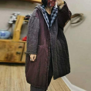 Retro Patchwork Hooded Warm Thick Cotton Parkas Plus Size All-match Women Long Coat