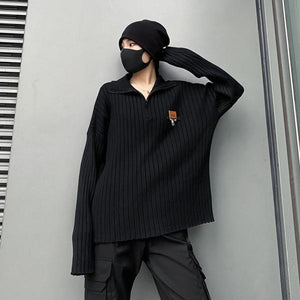Black Pullover Goddess Fan 2020 Winter Pleated Elegant Minority Casual Sweater