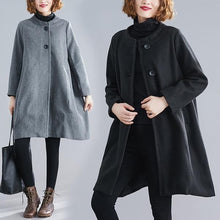 Load image into Gallery viewer, gray black wool plus size casual loose autumn winter coat women 2020 clothes Outerwear
