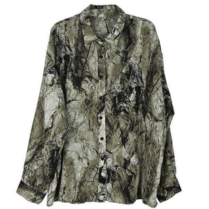 Print Pattern Button Shirt Women 2020 Winter Casual Fashion New Style Temperament All Match Turn Down Collar Blouse