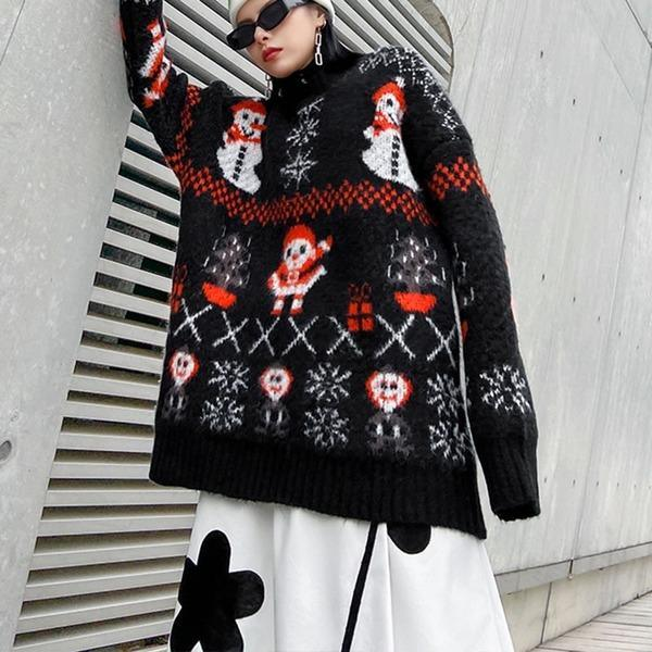 Cartoon Print Pattern Knitted Sweater Women 2020 Winter Casual Fashion Style Temperament All Match Women Clothes