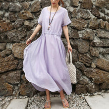 Load image into Gallery viewer, Women Short Sleeve Purple Lacing Lining Dress
