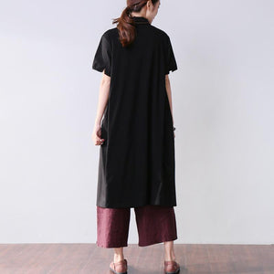 Folded Women Splicing Summer Loose Cotton Black Shirt Dress