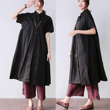 Load image into Gallery viewer, Folded Women Splicing Summer Loose Cotton Black Shirt Dress