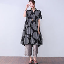 Laden Sie das Bild in den Galerie-Viewer, Baggy Stripe Pocket Short Sleeves Women Black Dress