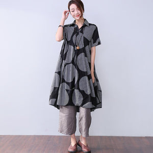 Baggy Stripe Pocket Short Sleeves Women Black Dress