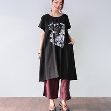 Load image into Gallery viewer, Simple Printing Pocket Short Sleeves Black Dress