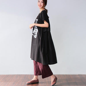 Simple Printing Pocket Short Sleeves Black Dress