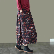 Load image into Gallery viewer, Women Loose Autumn Winter Padded Skirts Ladies Printed Cotton Linen Print Elastic Waist Skirts Female Vintage Skirt 2020