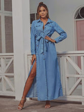 Load image into Gallery viewer, omychic plus size sexy Split for women casual loose maxi long autumn denim shirt dress