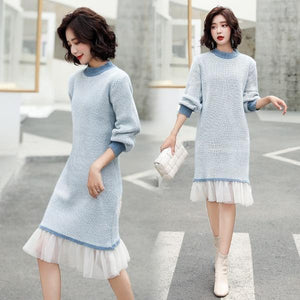 omychic plus size knitted vintage women casual loose midi autumn winter sweater dress