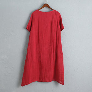 Chinese Style Women Short Sleeve Red Dress