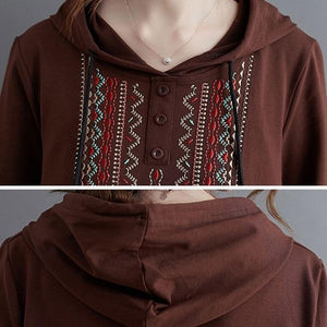 Casual Hooded Sweatshirt  Vintage Embroidery Loose Female Long Sleeve Hoodies