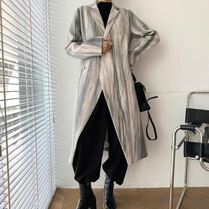 New Smoke Gray Lines Print Blend Loose Casual Women Coat Winter Fashion V Neck Collar Simplicity Single Button