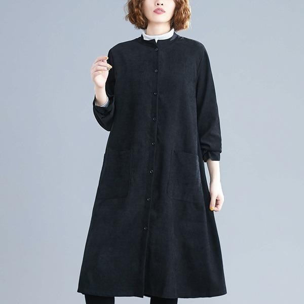 omychic plus size corduroy vintage for women casual loose spring autumn shirt dress