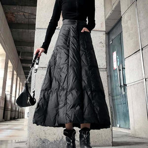High Waist Skirt Fashion New Women Elastic Waist Black 2020 Winter Pocket Goddess Fan Casual Style Loose Skirt ( Limited Stock)