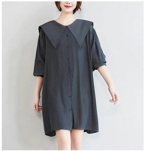 long sleeve plus size vintage for women casual loose mini short spring autumn shirt dress