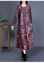 Load image into Gallery viewer, long sleeve plus size cotton satin vintage floral for women casual loose autumn dress