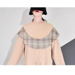 Patchwork Plaid Pleated Dress Women Winter Trendy Fashion New Style O Neck Pullover