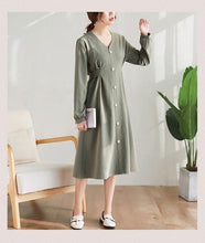 Load image into Gallery viewer, long sleeve plus size cotton vintage women casual loose midi spring autumn elegant party dress clothes