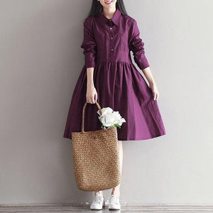 Women Cotton Linen Casual Dress New 2020 Simple Style Knee-length A-line Dress