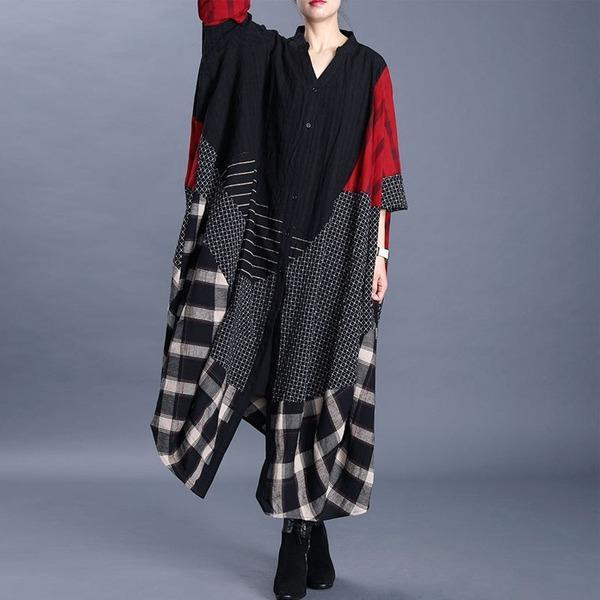 V-neck Patchwork Plaid Three Quarter Sleeve Coat 2020 New Loose Retro All-match Women Windbreaker