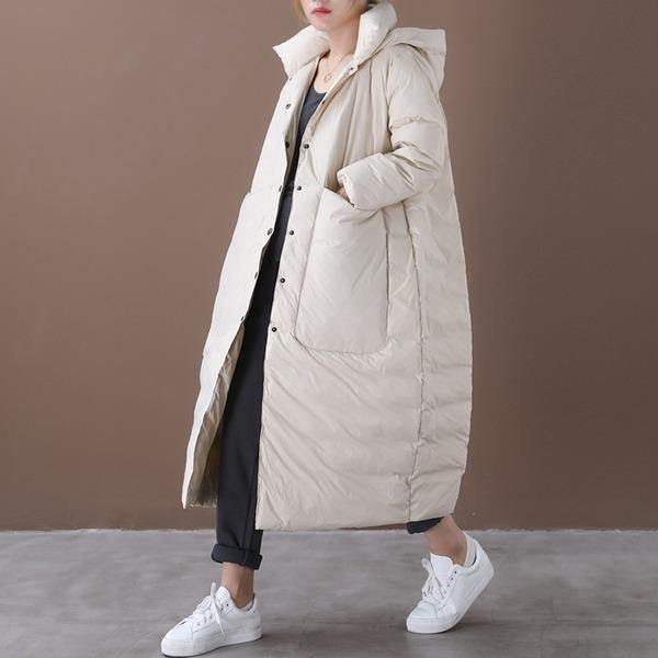 Women Beige Warm Winter Down Coats Hooded Pockets Wide-waisted Female Long Down Coats