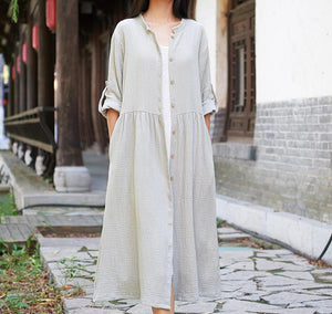 Cotton Linen Trench Loose Casual Coats 2020 Autumn New Solid Color Trench Coats