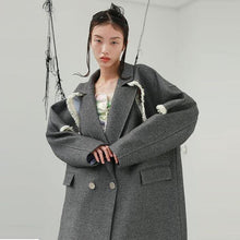 Load image into Gallery viewer, Plus Size Blends Fashion New Women Tassel Patchwork Casual Full Sleeve Loose Blends Coat