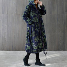Load image into Gallery viewer, plus size hooded Cotton vintage floral casual long loose autumn winter jacket clothes
