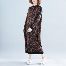 Load image into Gallery viewer, long sleeve leopard cotton vintage plus size women casual loose long spring autumn dress