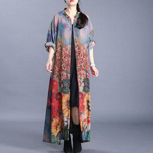 Spring Leisure All-match Fashion Floral Print Loose Comfortable Women Plus Size Coats