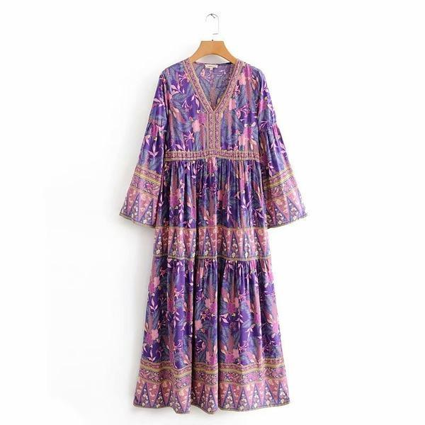 Loose Autumn Spring V Neck Bohemian Dress Ladies Printed Loose Dress