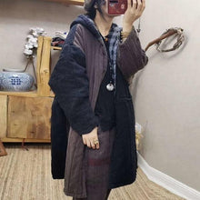 Load image into Gallery viewer, Retro Patchwork Hooded Warm Thick Cotton Parkas Plus Size All-match Women Long Coat