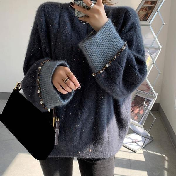 XITAO Pearls Knitted Pullover Sweater Women 2020 Winter Casual Fashion New Clothes