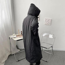 Load image into Gallery viewer, Women Winter Fashion New Black Loose Hooded Collar Simplicity Pocket Parka Coat