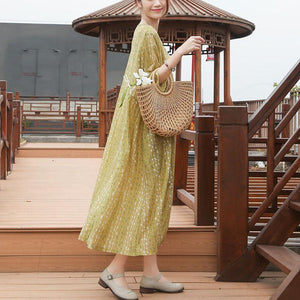 Loose Round Neck Half Sleeve Casual Yellow Dress